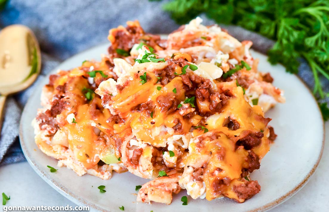 Beef Noodle Casserole on a plate