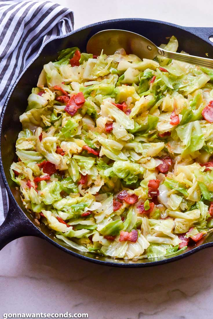 Fried Cabbage and Bacon in a cast iron skillet
