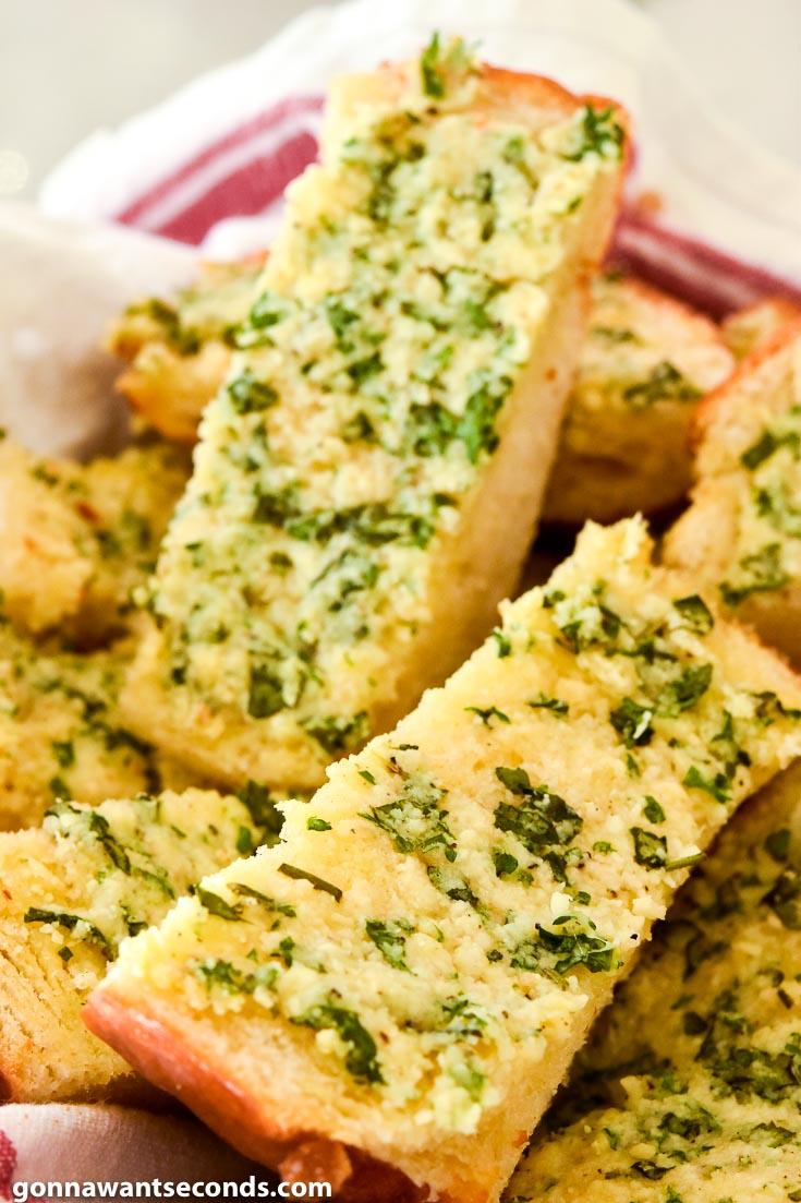Garlic Bread slices in a bread basket