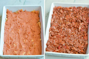 How to make Taco casserole, spreading the beans over tortillas and beef mixture over beans