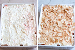 How to make taco casserole, spreading sour cream mixture and spreading the remaining tortilla chips