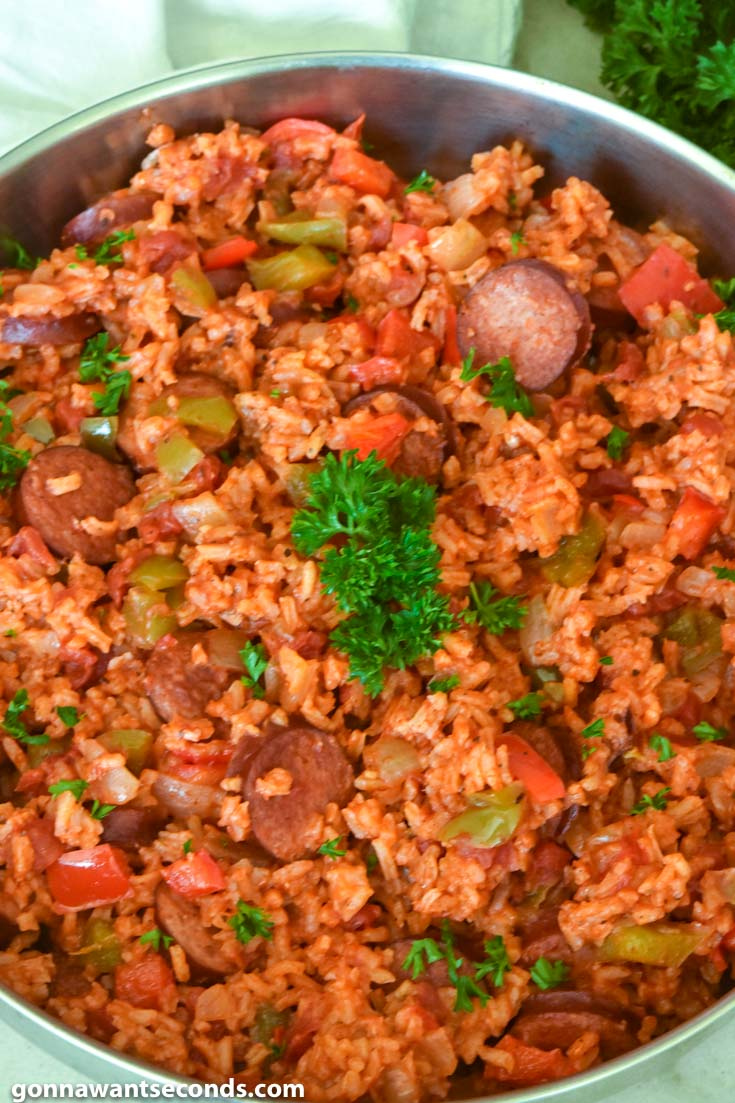 Sausage and Rice in a skillet
