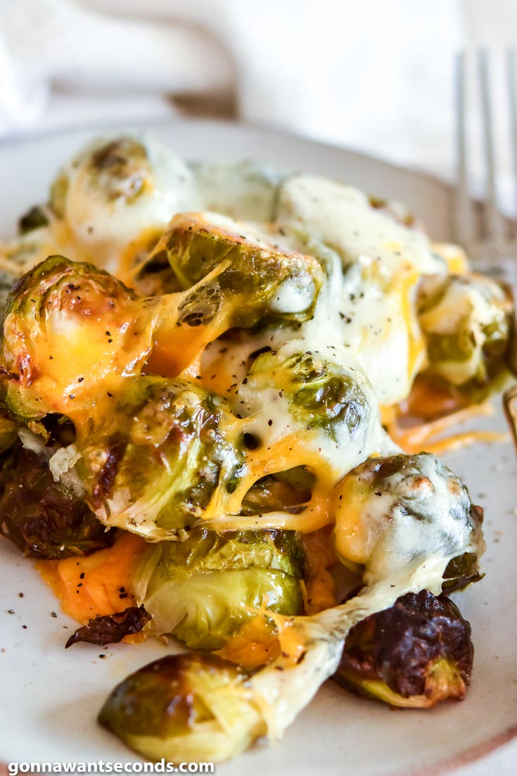 Cheesy Roasted Brussels Sprouts on a plate