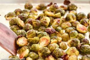 How to make Cheesy Roasted Brussels Sprouts, remove from oven