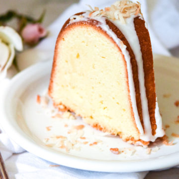 A slice of Coconut Pound Cake