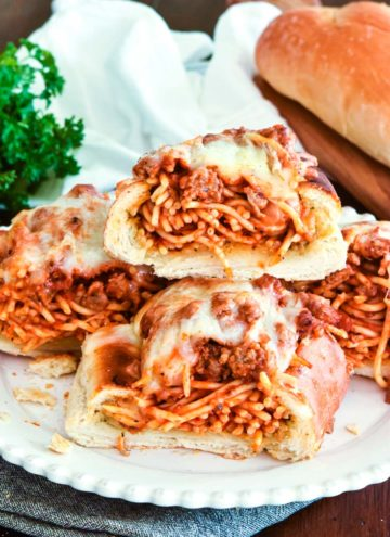 Stacked Spaghetti Stuffed Garlic Bread slices