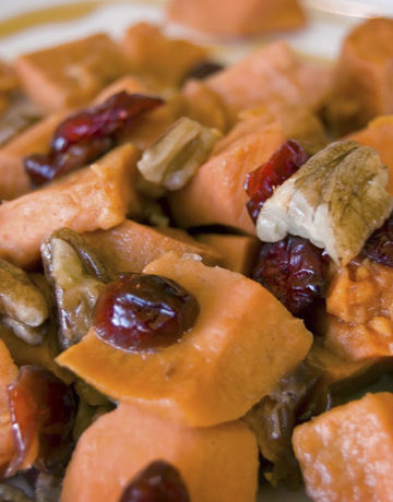Roasted Maple Cranberry Sweet Potatoes