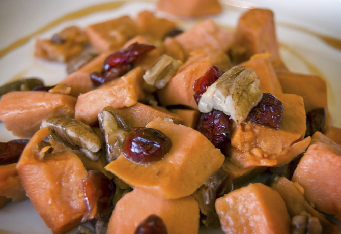 Roasted Maple Cranberry Sweet Potatoes