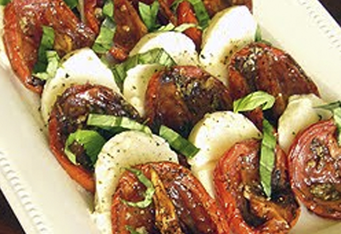 Roasted Tomatoes Ina Garten roasted tomato caprese salad or perfect winter caprese salad