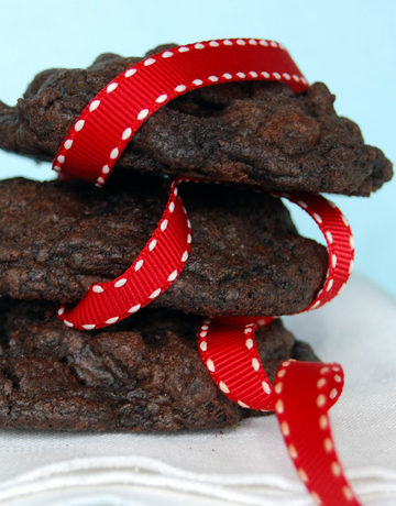 Chunky Chocolate Gobs stack on top of each other, with red ribbon design