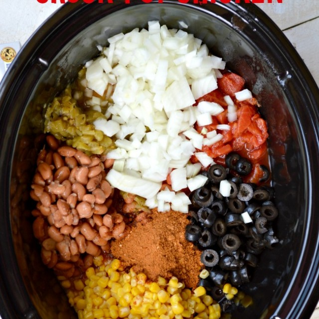 Mexican Cream Cheese Crock Pot Chicken ingredients in a crockpot