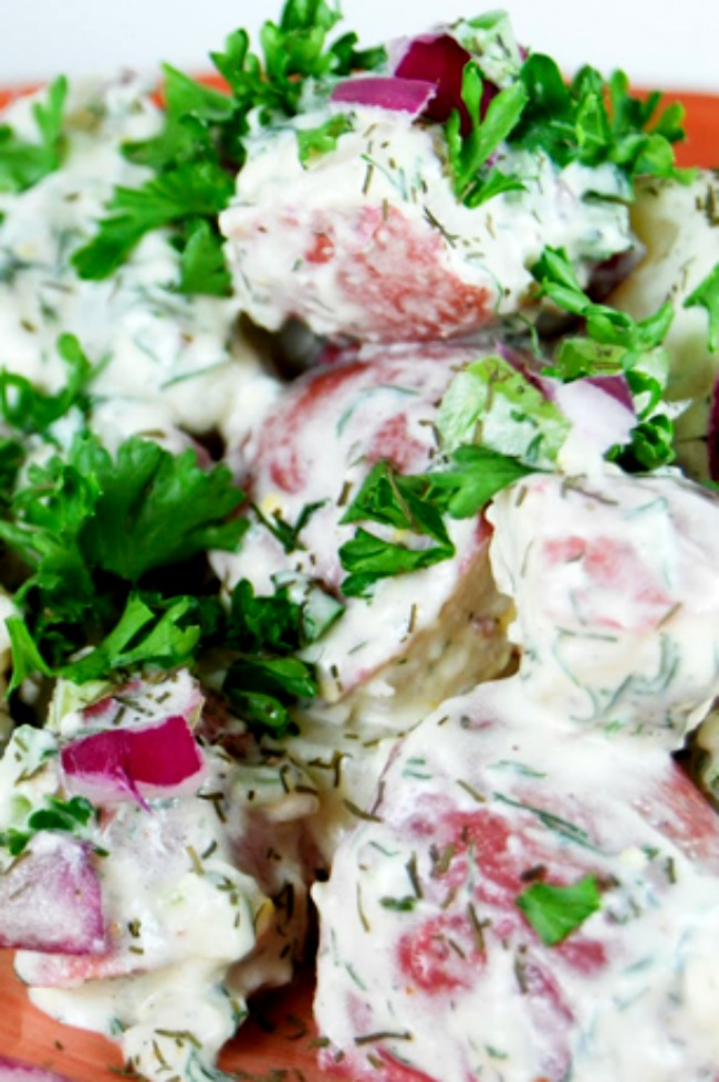 Ina's Potato Salad topped with chopped parsley