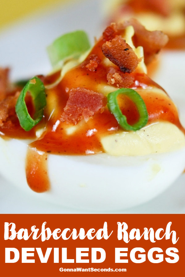Our Barbecued Ranch Deviled Eggs Are Delicious Creamy Deviled Eggs Flavored With Ranch Dressing And Drizzled With BBQ Sauce And Bacon. The Flavor Trifecta! #BarbecuedRanchDeviledEggs #DeviledEggs