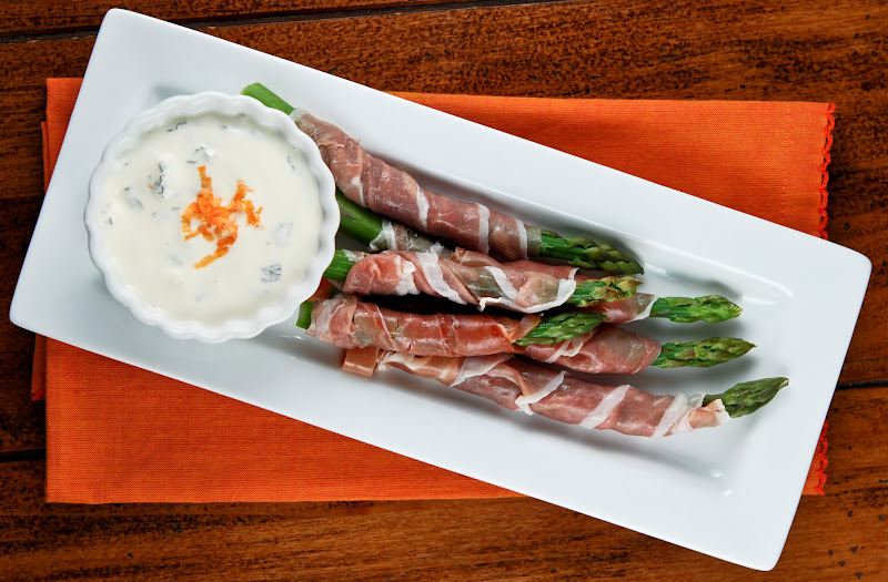 Prosciutto Wrapped Asparagus with Orange Dipping Sauce