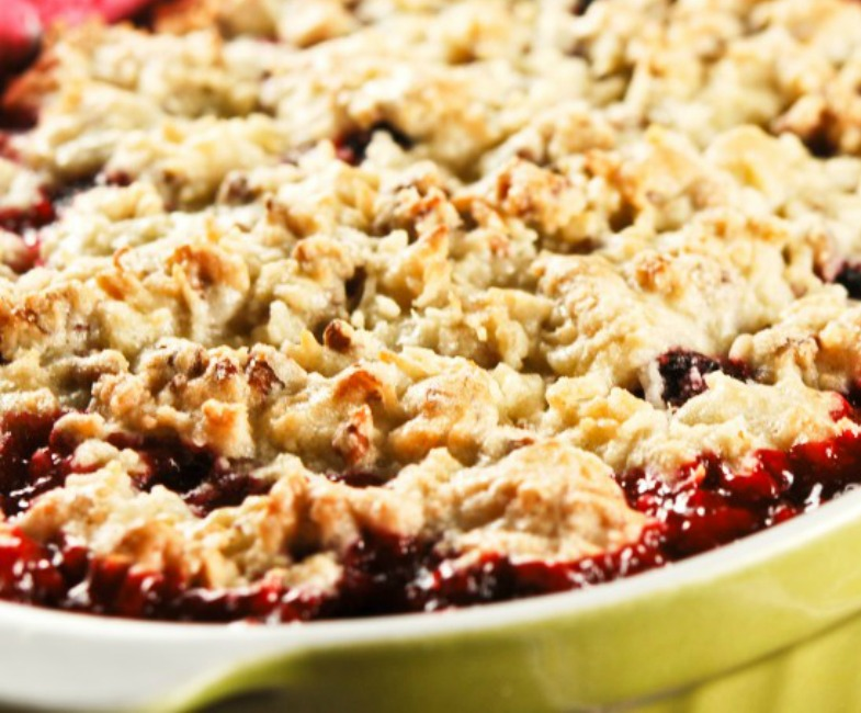 Blackberry Cobbler with a Pecan Coconut Cookie Topping