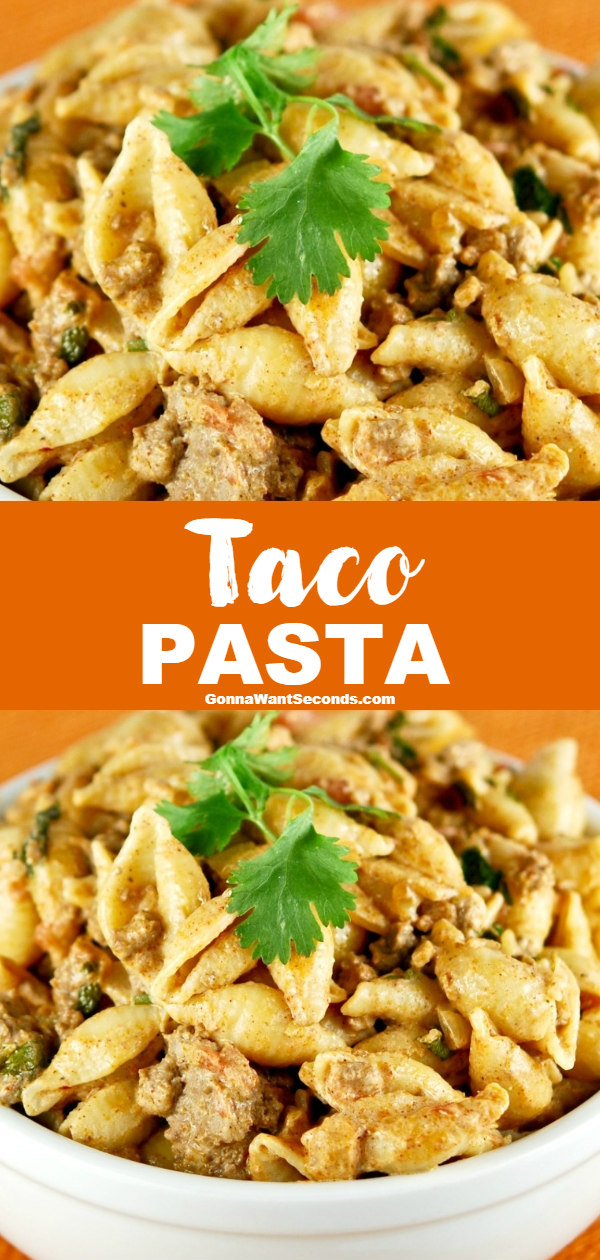 Taco Pasta has all the taco flavor you love in a simple skillet meal! Its creamy sauce marries meat, taco seasoning, and pasta wonderfully! #TacoPasta #Pasta