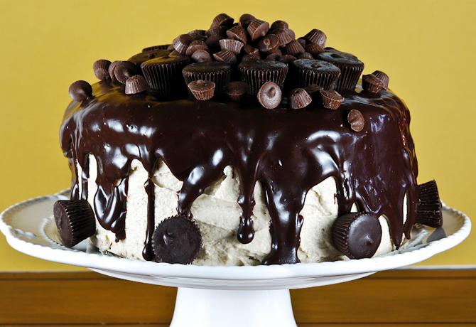 Sour Cream Chocolate Cake with Peanut Butter Frosting and a Chocolate Peanut Butter Glaze