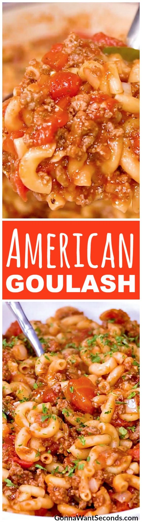This classic American Goulash is one of those easy, home-style, comfort food dishes, made in one pot. Perfect recipe for feeding a crowd or serve half for dinner and freeze the other half for later. This beefy pasta meal is sure to please kids of all ages.  #Easy #Recipes #Spices #ChopSuey #Soup #Classic