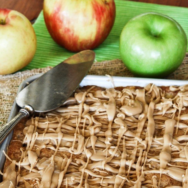Apple Cake Bars with Caramel Glaze