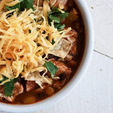 santa fe chicken stew in a bowl with cheese on top