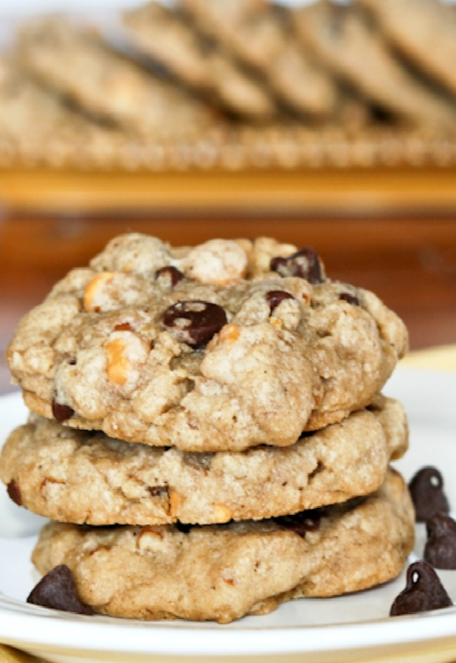 Brown Butter Pretzel Chocolate Butterscotch Chip Cookies