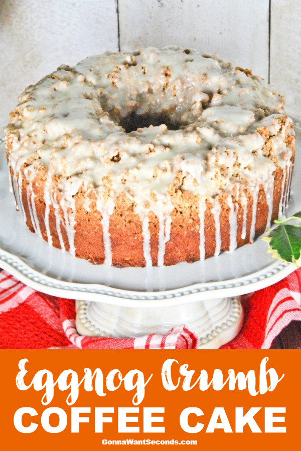 My Eggnog Crumb Coffee Cake is a wonderful holiday treat with a unique nutmeg icing. Perfect with a coffee at a December breakfast or brunch! #Eggnog #CoffeeCake