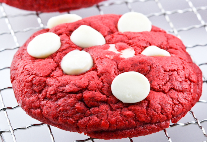 Red Velvet White Chocolate Chip Cookies From Cake Mix