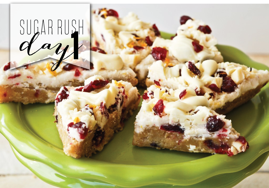 sugar rush day1 - cranberry bliss bars