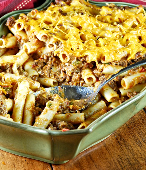 Rachel Ray's Southwestern Chili Con Pasta in a rectangular green casserole dish