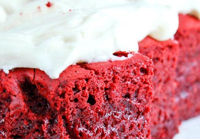 Red Velvet Brownies with Cream Cheese frosting, on a plate