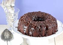 Chocolate-Chocolate Chip Cake topped with Chocolate Ganache