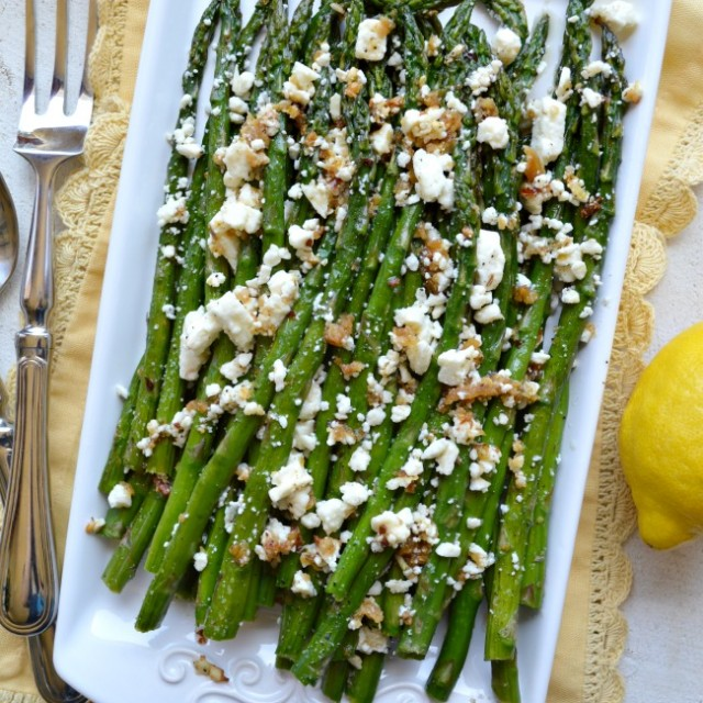 Roasted Garlic Asparagus with Feta
