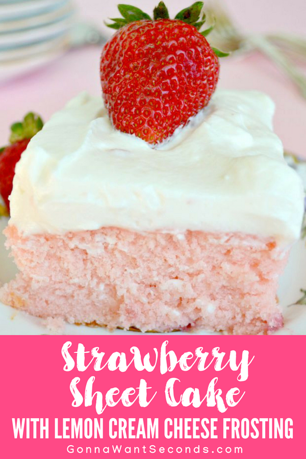 The BEST Strawberry Sheet Cake Ever. Tender, moist cake loaded with fresh strawberries then topped with a to-die-for Lemon Cream Cheese to-die-for frosting! #Strawberry #SheetCake #Lemon #LemonFrosting #LemonJuice #FromScratch #Easy #Recipe #Fresh #Jello #Best #CreamCheeses #Homemade #Food #Baking #Buttermilk #Dessert #Summer #Spring #Recipe #Sweets