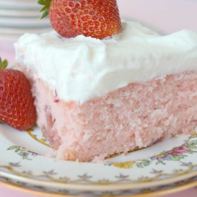 Strawberry Sheet Cake with Lemon Frosting