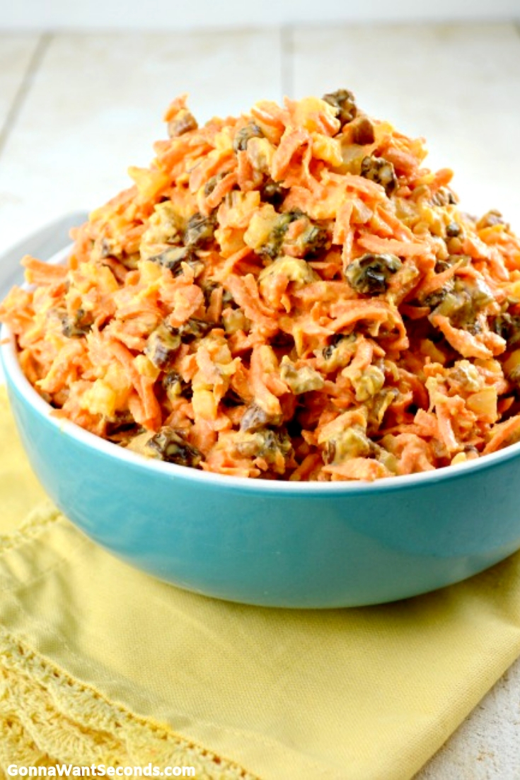 Carrot Salad in a blue bowl