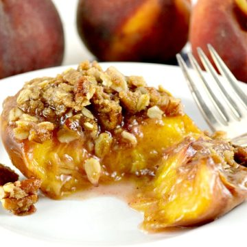 Roasted Peach Halves with Crumb Topping