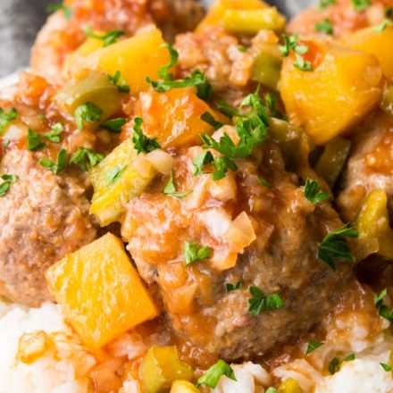 Sweet and Sour Meatballs on top of rice