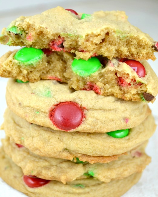 Soft Batch Christmas M&M Cookies stack on top of each other