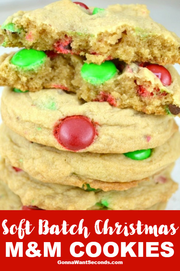 Soft Batch Christmas M&M Cookies. Super soft, perfectly chewy. buttery, and FLUFFY! A Secret ingredient gives this incredible texture. Melt in your mouth #SoftBatchChristmasM&M Cookies #Christmas