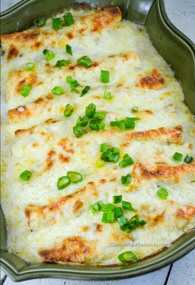White Chicken Enchiladas With Sour Cream Sauce With Video