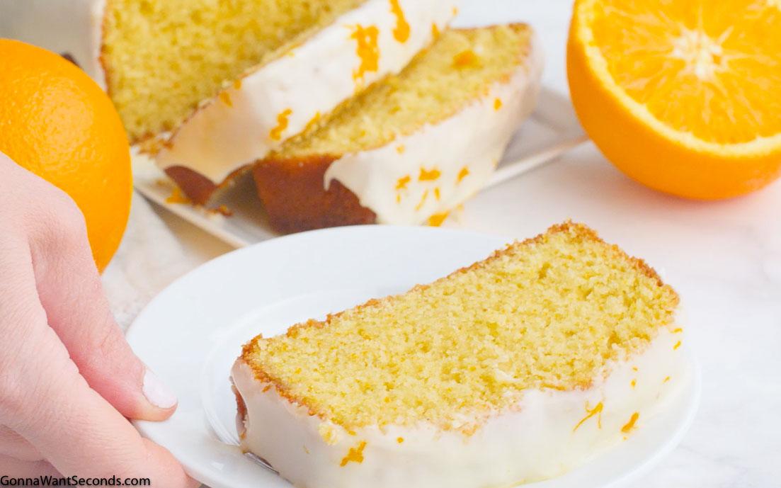 Orange Pound Cake on a plate