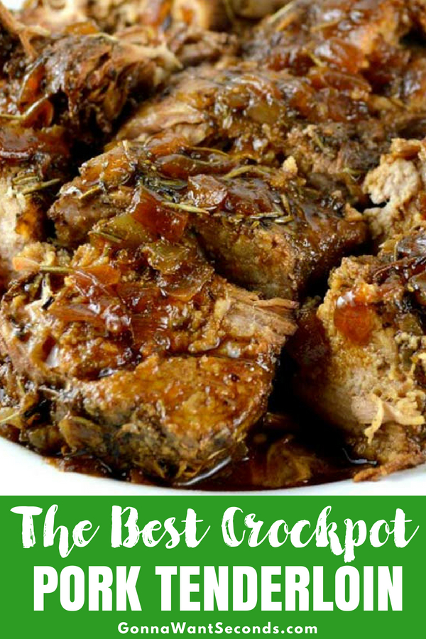 You'll love our melt-in-your-mouth Crock Pot pork tenderloin. It makes its own gravy all from the scratch! Perfect for a weeknight meal or Sunday supper. #Best #CrockPot #Pork #Tenerloin #Recipes #GlutenFree #SoySauce #DijonMustard #OliveOil #Honey #SlowCooker #Easy #Healthy #Dinner #Meal #Garlic #BlackPepper #Rosemary #Meal #Spicy #ComfortFoods