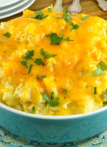 Crockpot Cheesy Potato in a blue bowl