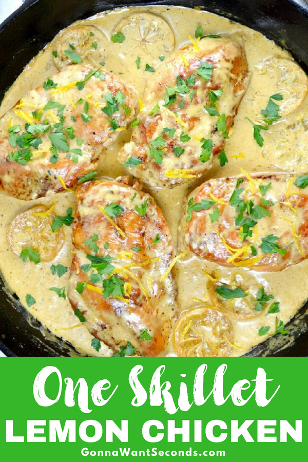 Our easy Creamy Lemon Skillet Chicken is coated in a luscious creamy lemon sauce and can be ready in 30 minutes! Perfect for a weeknight meal or company! #Best #Creamy #Lemon #Skillet #Chicken #Recipe #Butter #WhippingCream #ChickenBroth #Quick #Easy #Meal #Dinner #Sauce #Parsley #WeeknightMeal #Fresh #Kid