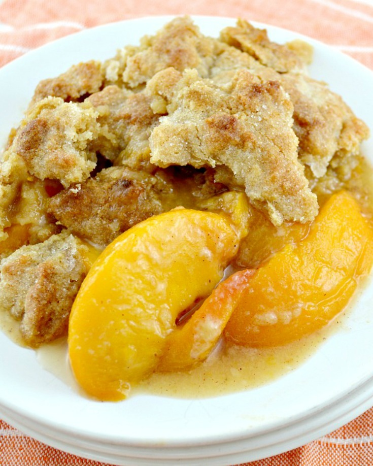 Southern Peach Cobbler on a plate