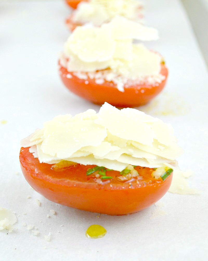 Parmesan on top of tomatoes