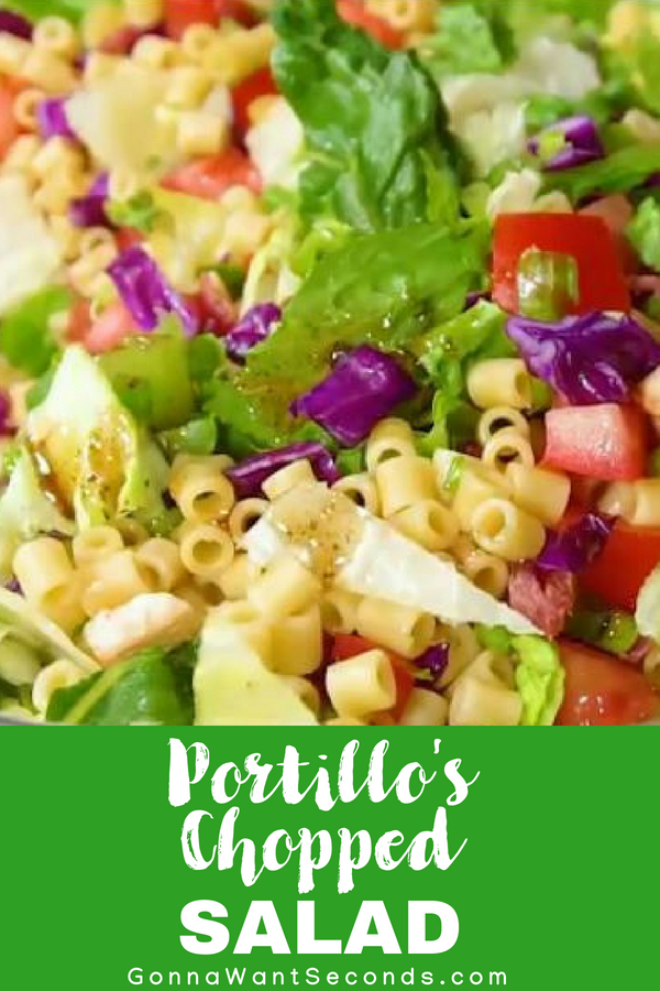 Our copycat recipe of Portillo's Chopped Salad is LOADED with lotsa chicken, pasta, bacon, and blue cheese then dressed in a sweet Italian dressing! YUM!! #Best #Portillos #Chopped #Salad #Italian #Veggies #ItalianDressing #Sweet #Fresh #Copycat #Chopped #OliveOil #Pasta #Recipe #Homemade #Quick #Easy #Families #Appetizer #Light #Fresh