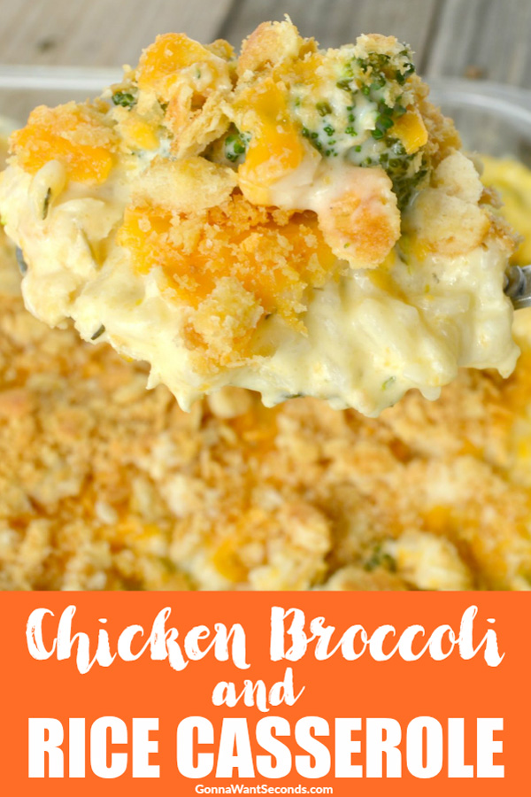 Our Easy Chicken Broccoli Rice Casserole is baked in a super, super, creamy, sauce, then topped off with lots of gooey cheese and buttery breadcrumbs. #Best #Chicken #Broccoli #Rice #Casserole #Recipe #Easy #PankoBread #Cheddar #Cheese #SourCream #Cheesy #Creamy #Families #Ovens #ComfortFoods #Meals #MainDishes #Weeknight #Dinners