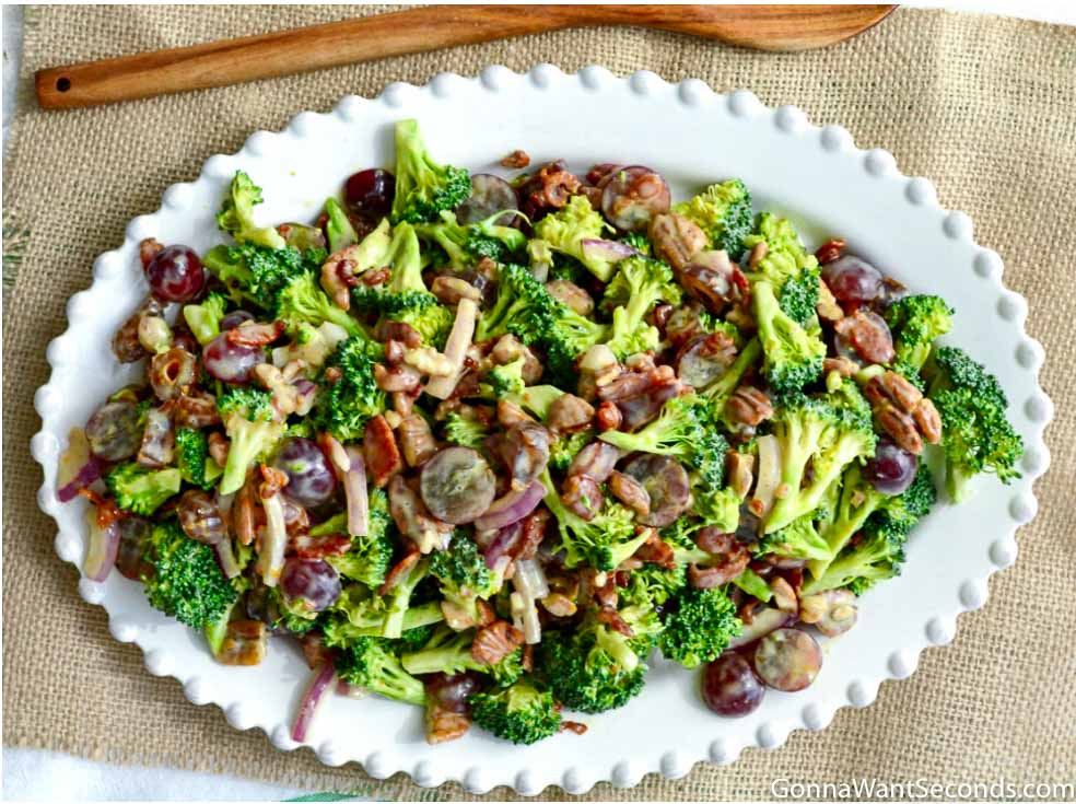 Broccoli Salad on a serving plate