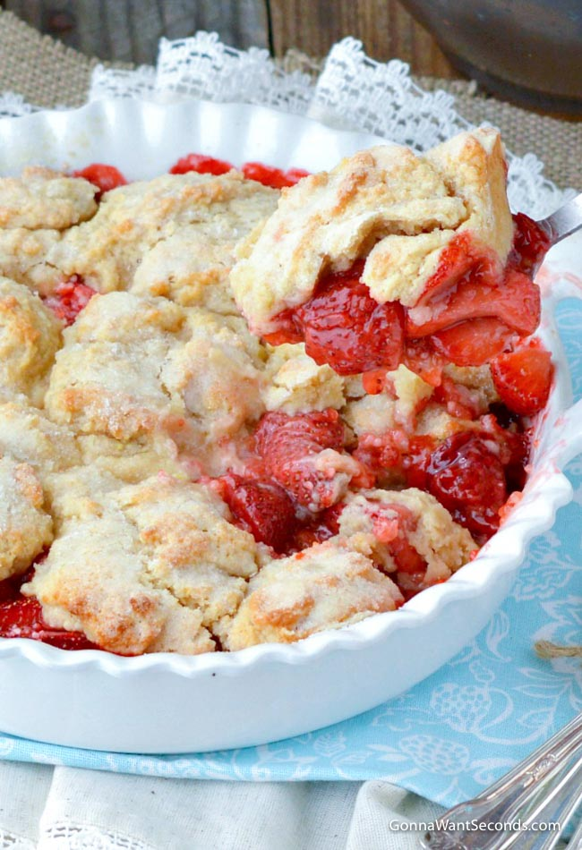 Strawberry Cobbler scooped with spoon
